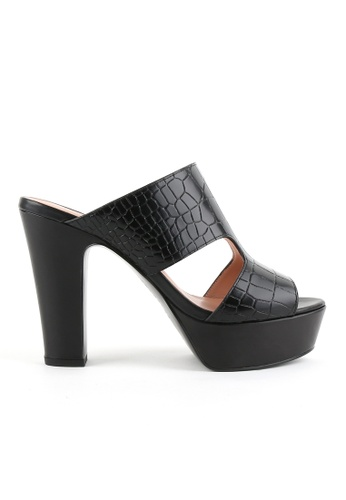 Joy & Peace black Faux Croc Skin Platform Heeled Sandals JO458SH82JMBHK_1
