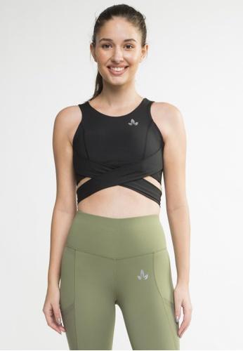Lotus Activewear black Julia Wrap Back Sports Bra FEC04USAA0C1A8GS_1