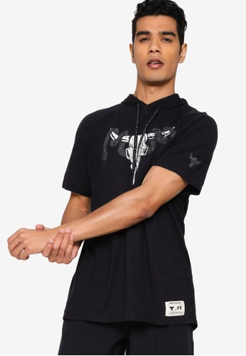 Under Armour black UA Project Rock Cc SS Hoodie 21AB5AAD6150C1GS_1