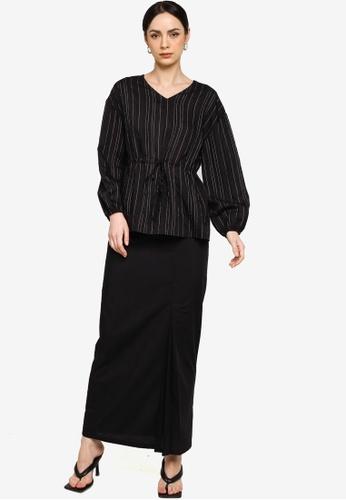 ZALIA BASICS black Striped Blouse With Skirt Set 98AB8AABE6C47FGS_1