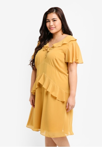Plus Size Skater Dress With Frills