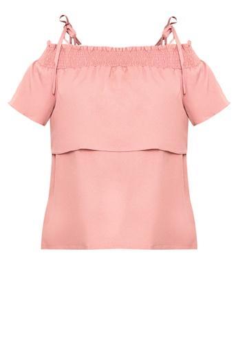 Flaunt Plus pink Off-shoulder Top 9146FAA6D61BADGS_1