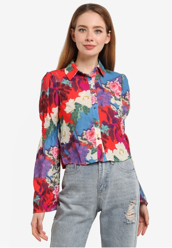 LOST INK multi Shirred Sleeve Floral Printed Shirt 59A35AA9309674GS_1