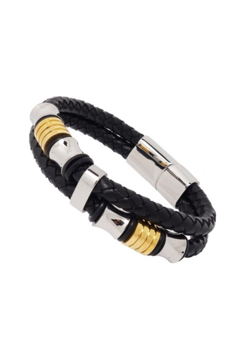 Jaysa Collection black Urban Chic Men's Bracelet With Dual Color Stainless Steel Ornaments JA875AC55ZSASG_1