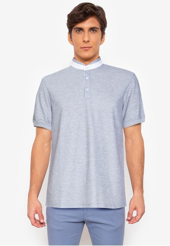 ZALORA BASICS grey Contrast Trim Stand Collar Polo 07D87AA0DB408DGS_1