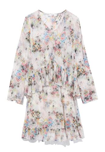 b+ab pink Layered patterened dress 11E12AA8135836GS_1