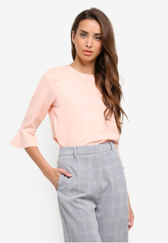ZALORA pink Flare Sleeves Top EC2AFAA9FB69C3GS_1
