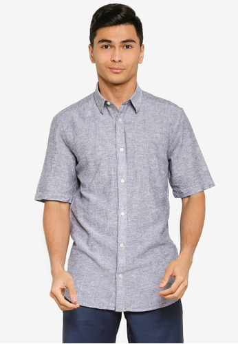 Only & Sons blue Caiden Short Sleeves Linen Shirt 57691AA510AC39GS_1