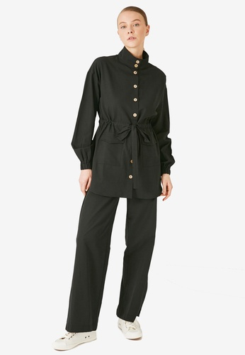 Trendyol 黑色 口袋Detail 腰帶上衣 & Bottom Set 44AC5AA71D32BCGS_1