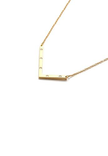 Glamorousky 白色 简约个性镀金色英文字母L 316L钢吊坠配锆石及项链 846BFAC5EF9CA0GS_1