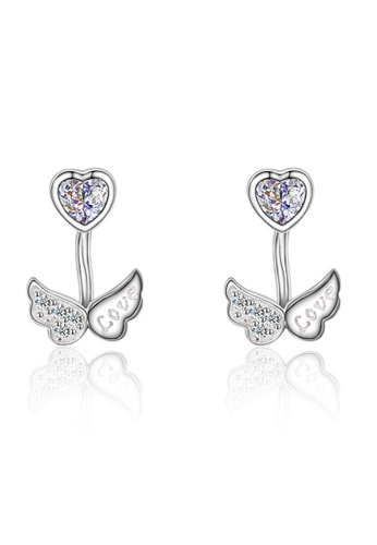 LYCKA silver LFF5203-LYCKA-S925 Siliver White Zircon Angel Wings Earrings-Silver 2D902ACF78186DGS_1