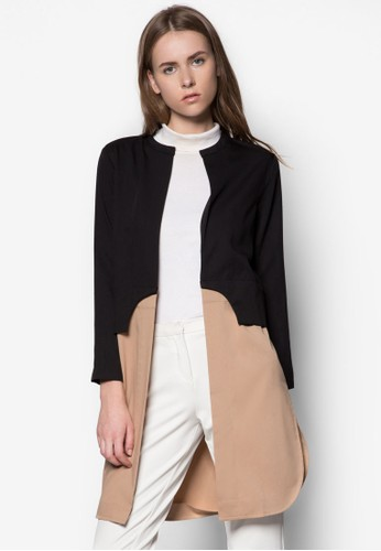 色塊拼接長版開襟外套zalora開箱, 服飾, 夾克 & 大衣