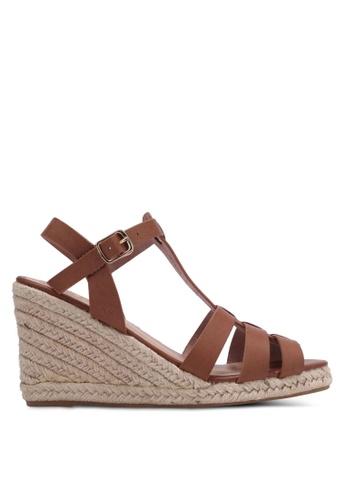 Bata brown Strappy Wedge Sandals BA156SH0RY6BMY_1