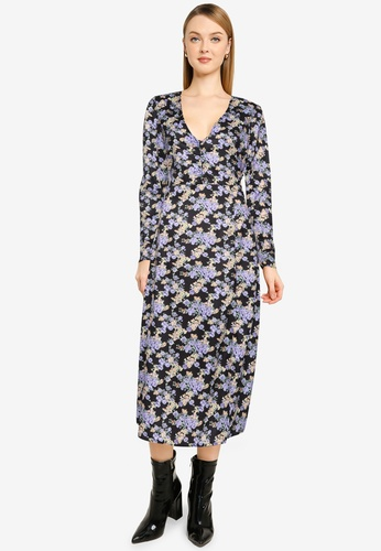 MISSGUIDED black and multi Half Button Midi Long Sleeves Floral Dress C0033AA29C3C10GS_1