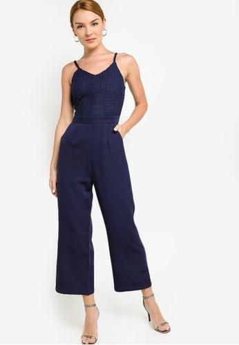 ZALORA OCCASION 海軍藍色 Contrast 蕾絲 細肩帶連身褲 6F0CFAA5413140GS_1