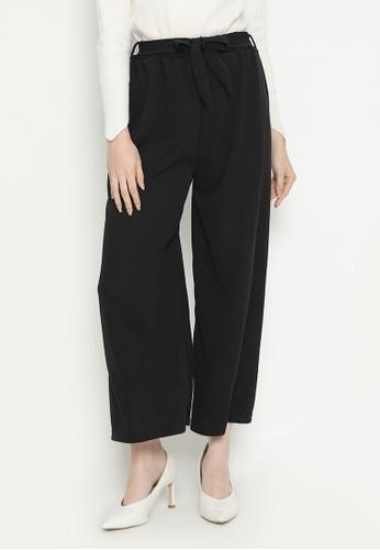 MINEOLA black Basic Tie Belt Cotton Culotte Black 7128BAA57DDB6FGS_1