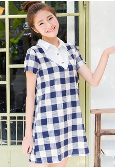 [IMPORTED] Intellectually Appealing Plaid Dress - Blue