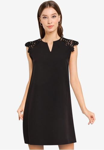 ZALORA WORK black Lace Sleeve Notch Neck Dress 110C9AAE893955GS_1