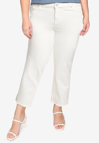 Violeta by MANGO white Plus Size Straight Crop Jeans 2DE1FAAEE08349GS_1