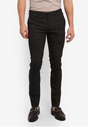 Topman black and grey Ultra Skinny Fit Smart Trousers TO413AA0S7XPMY_1