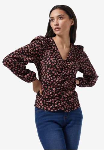 Dorothy Perkins black Petite Floral Ruched Top 25C8EAA8219DC0GS_1