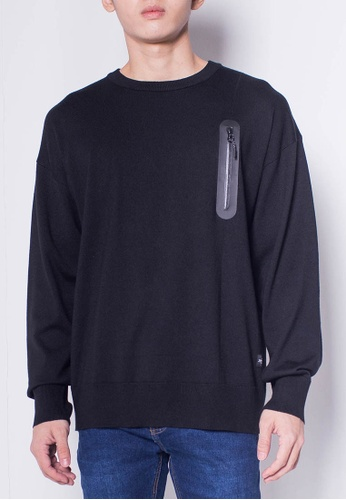 SUB black Men Round Neck Long Sleeve Sweater With Zipper Pocket 3A6A8AA6C031E1GS_1
