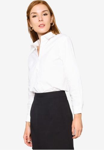 ZALORA WORK white Curve Hem Shirt 4ED7CAA6568FE8GS_1