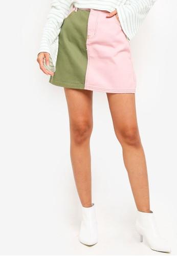 Glamorous multi Color Block Denim Mini Skirt 1AA0CAAA032113GS_1