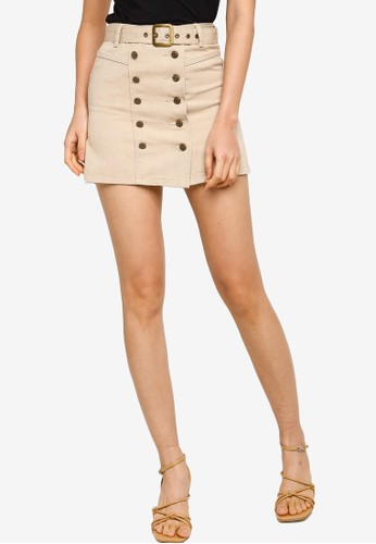 ZALORA BASICS beige Belted Button Denim Mini Skirt 3F14FAA8B10239GS_1