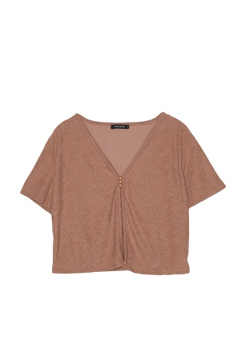 Trendyol brown Slit Front Button Detail Ribbed Crop Top 76EB1AA3E50D3CGS_1