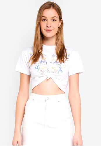 Miss Selfridge white Petite White Embroidered T-Shirt 3F6FDAAFACD791GS_1