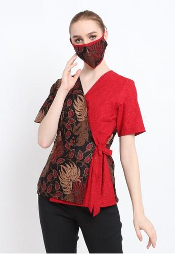Batik Etniq Craft red Blouse Batik Wanita Keenan Set Masker Red F6C25AA9AC3623GS_1