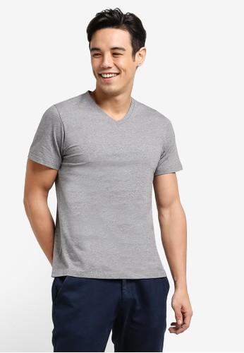 ZALORA grey Cotton V Neck Short Sleeved Tee 8EC6BAAEB057D7GS_1