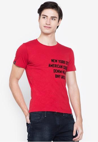 BNY red Printed Large Pocket T-Shirt 8E468AAF72C8ADGS_1