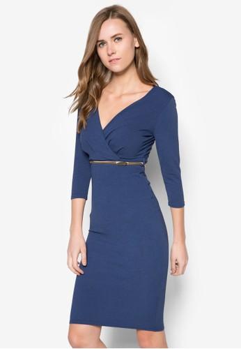 腰帶裹zalora鞋式長袖連身裙, 服飾, 服飾