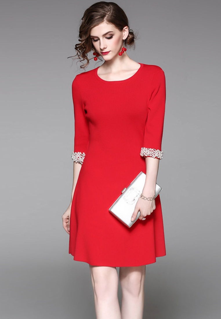 Dress 2017 F Sunnydaysweety Mid Red One A083136R Piece Red Sleeves W SqO4Zf