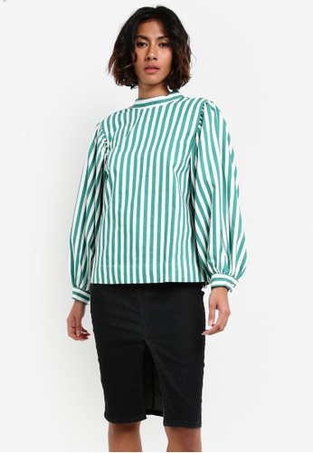 TOPSHOP 綠色 Balloon Sleeve Stripe Top TO412AA0RY35MY_1