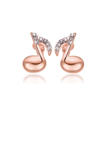 Glamorousky white Simple and Fashion Plated Rose Gold Music Note Earrings with Austrian Element Crystal 9A8D1AC17CF7B1GS_1
