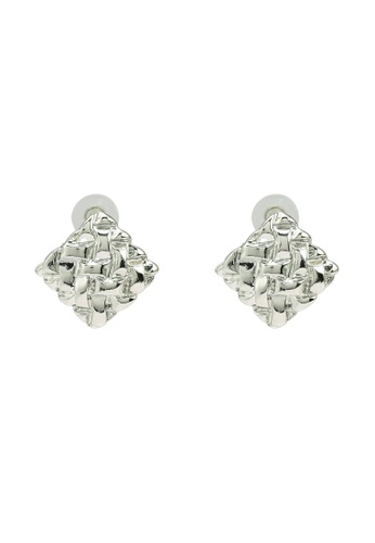 Red's Revenge silver Textured Square Stud Earrings A8DEBAC29A2A6BGS_1