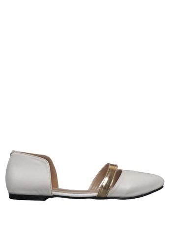 Beauty Shoes white Strip Beauty Flat White BE516SH38FAJID_1