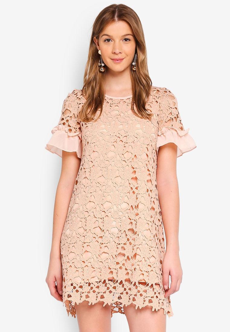 Dress Angeleye Pink Rose Shift Lace TRn7qv8zT