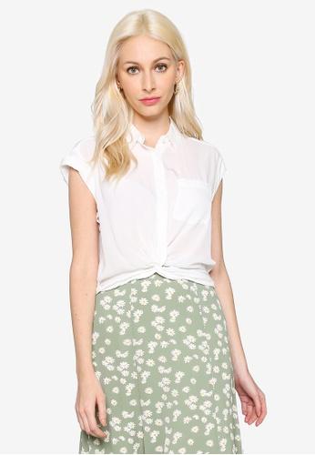 Hopeshow white Folded Cuff Short Sleeve Chiffon Button Blouse A3B93AAF9236D2GS_1