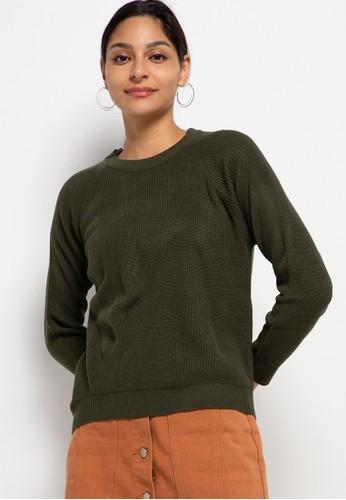 Button On green Women Long Sleeve Basic Sweater E88B9AA7803E45GS_1