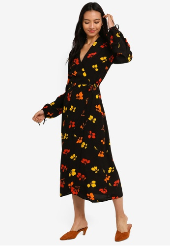 6f865e306a4f Buy WAREHOUSE Sunset Floral Wrap Midi Dress Online on ZALORA Singapore