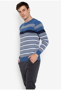 1c5a62b87e Mick + Marty blue Round neck Stripe Pullover Sweater 1745AAA3F679EEGS 1