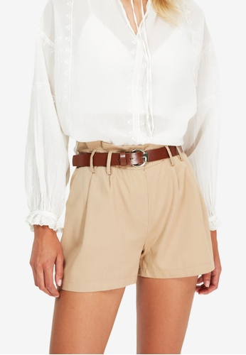 Trendyol beige Belted Pleated Shorts 73F0FAAF1C51E6GS_1