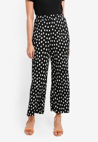 TOPSHOP black Spot Plisse Trousers 541D6AA69A0367GS_1