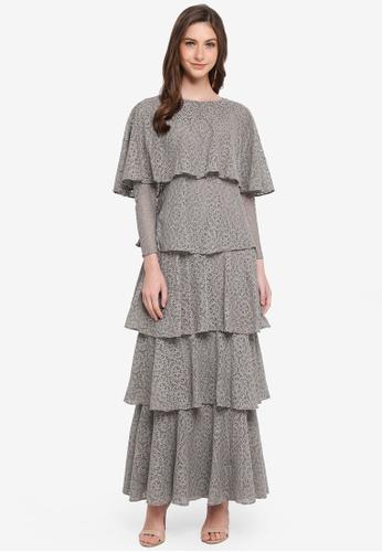 SHEA RASOL grey Estelle Layered Dress 6C18DAA3BBB805GS_1