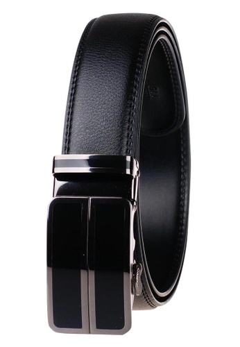 FANYU black Leather Dress Belt With Automatic Buckle belt 3B655AC18C5695GS_1