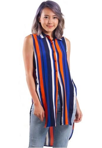 Kitschen blue Stripes HI-Lo Sleeveless Top 97759AAA94AEB5GS_1